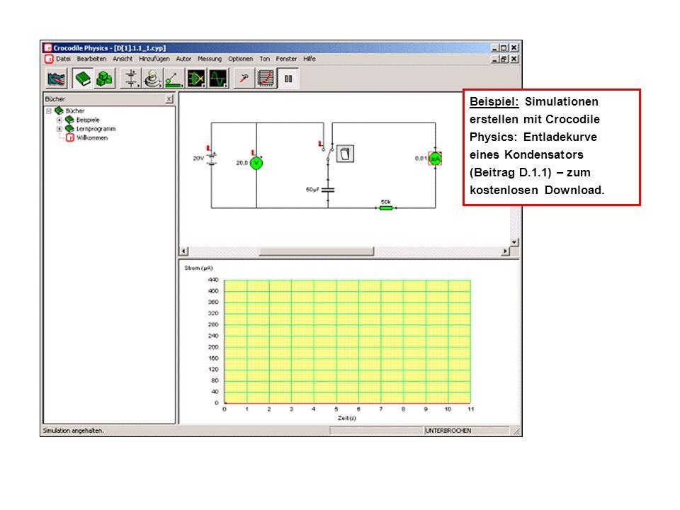 Beispiel: Simulationen erstellen mit Crocodile Physics: Entladekurve eines Kondensators (Beitrag D.1.1) – zum kostenlosen Download.