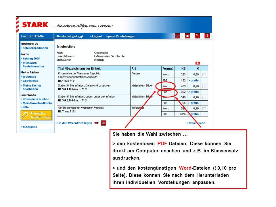 Sie haben die Wahl zwischen … > den kostenlosen PDF-Dateien.