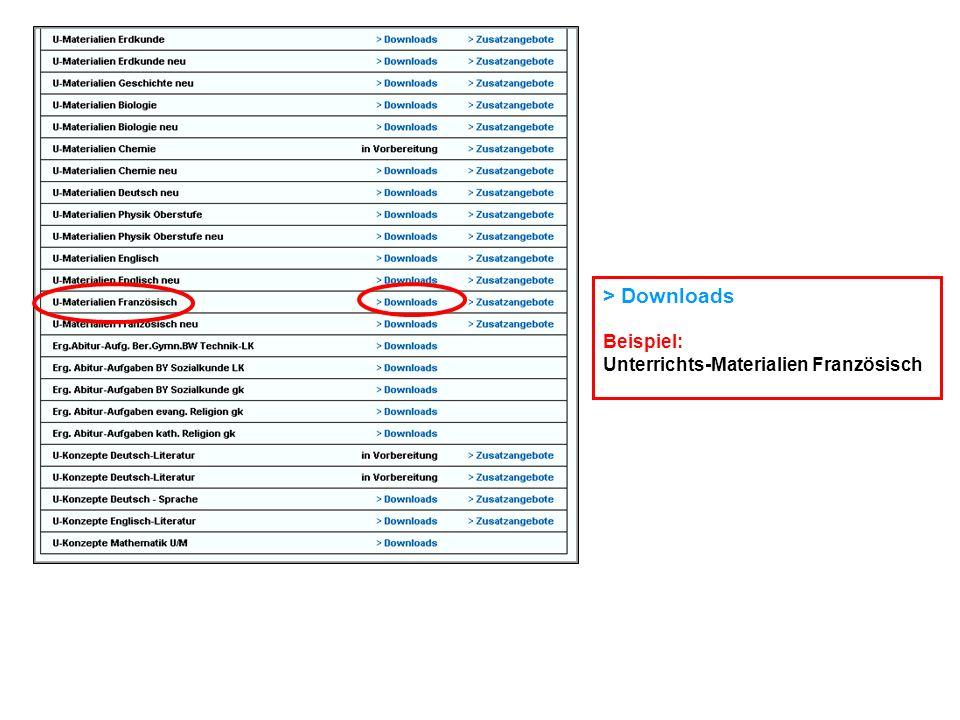> Downloads Beispiel: Unterrichts-Materialien Französisch