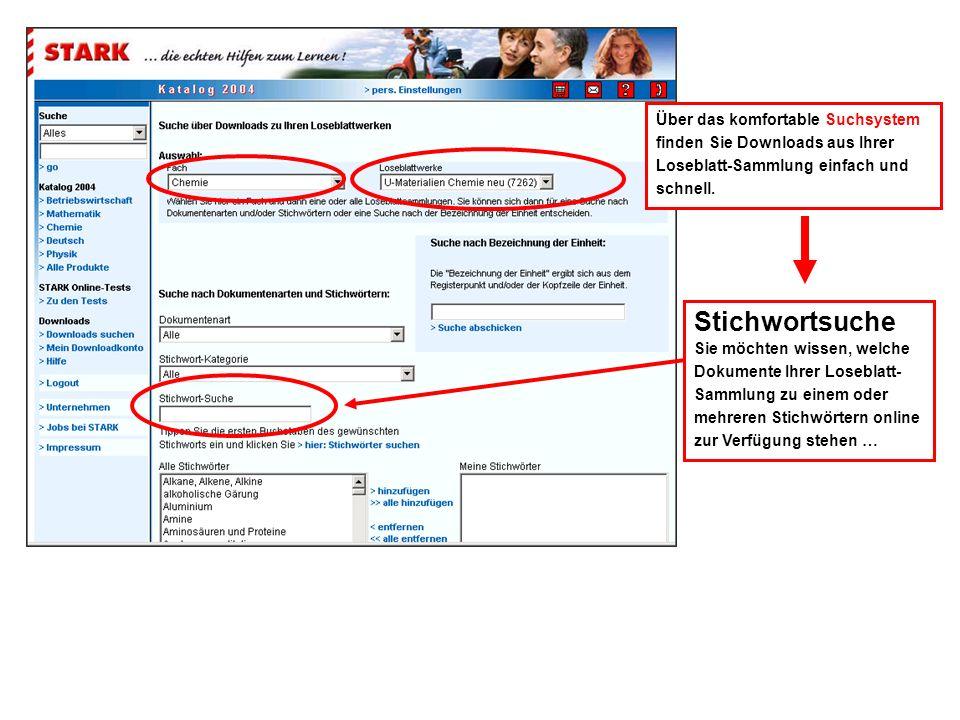 Stichwortsuche Sie möchten wissen, welche Dokumente Ihrer Loseblatt- Sammlung zu einem oder mehreren Stichwörtern online zur Verfügung stehen … Über das komfortable Suchsystem finden Sie Downloads aus Ihrer Loseblatt-Sammlung einfach und schnell.