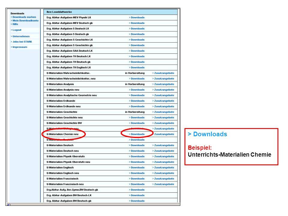 > Downloads Beispiel: Unterrichts-Materialien Chemie