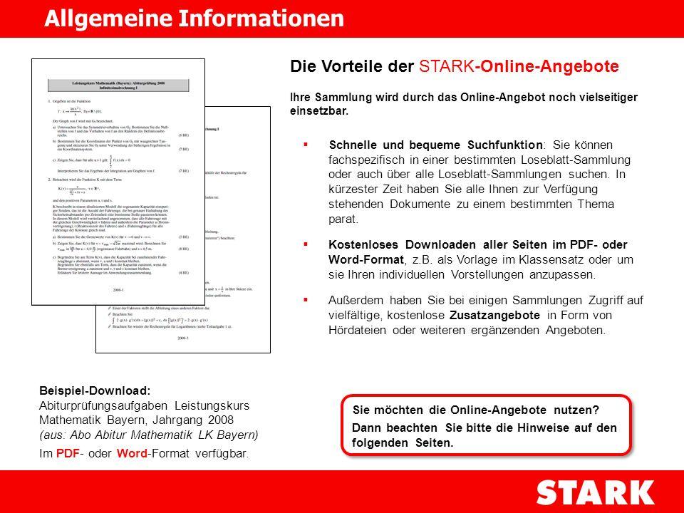Voraussetzungen, um die STARK-Online-Angebote zu nutzen: Sie haben eine der STARK Loseblatt-Sammlungen für Lehrkräfte abonniert.