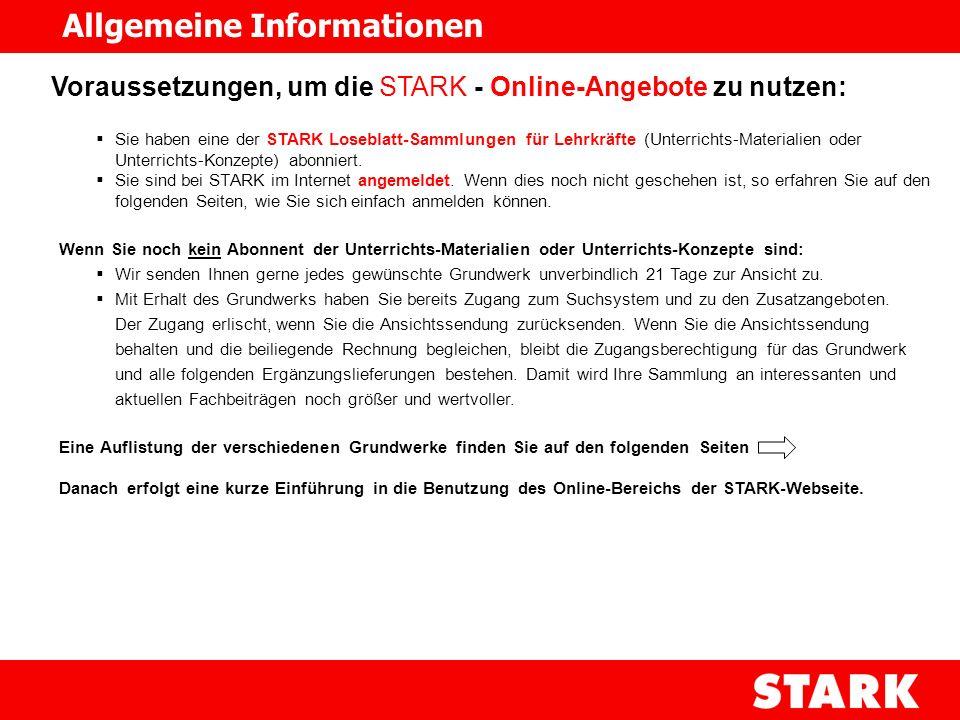 Voraussetzungen, um die STARK - Online-Angebote zu nutzen: Sie haben eine der STARK Loseblatt-Sammlungen für Lehrkräfte (Unterrichts-Materialien oder