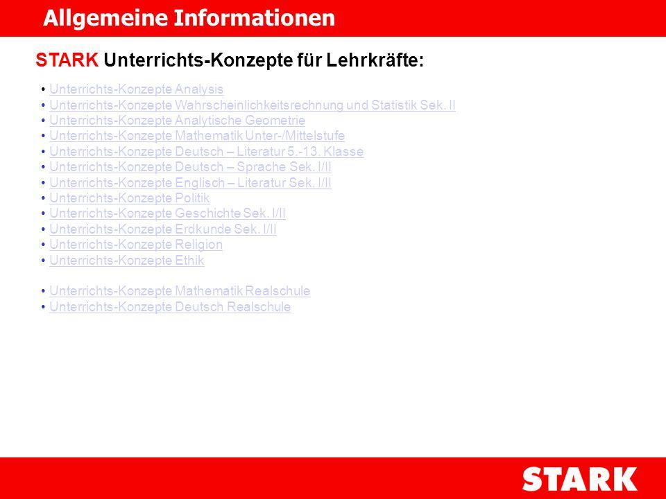 STARK Unterrichts-Konzepte für Lehrkräfte: Unterrichts-Konzepte Analysis Unterrichts-Konzepte Wahrscheinlichkeitsrechnung und Statistik Sek. II Unterr