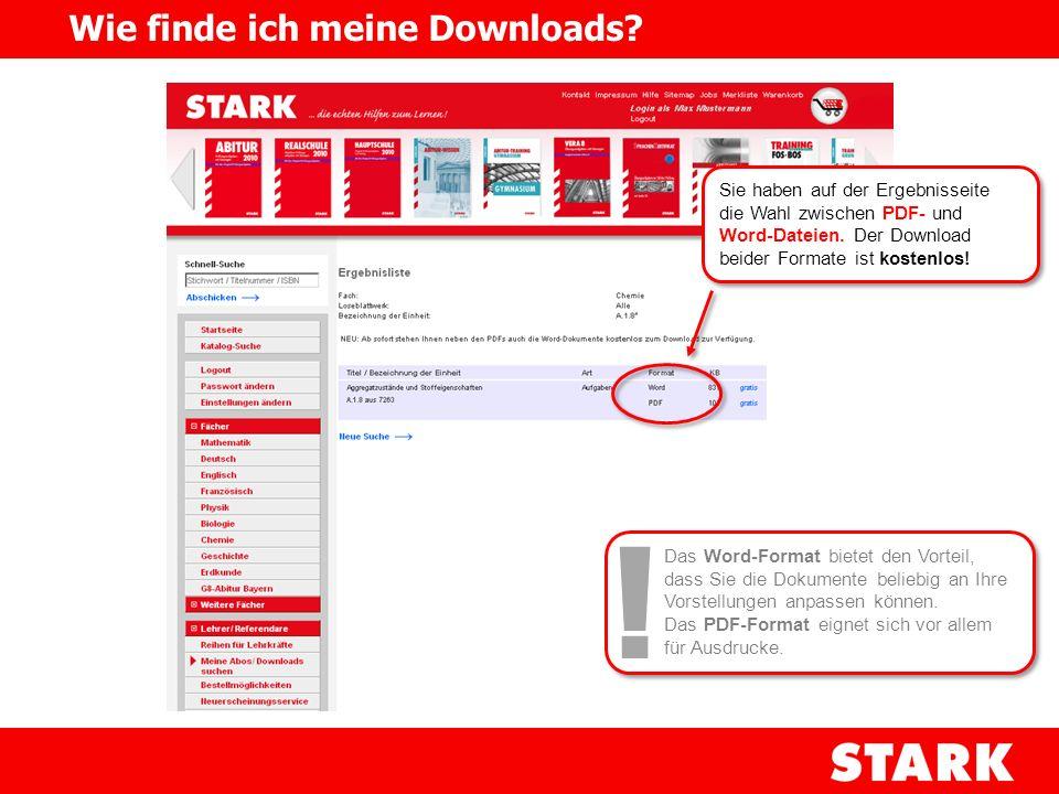 Sie haben auf der Ergebnisseite die Wahl zwischen PDF- und Word-Dateien. Der Download beider Formate ist kostenlos! Wie finde ich meine Downloads? Das