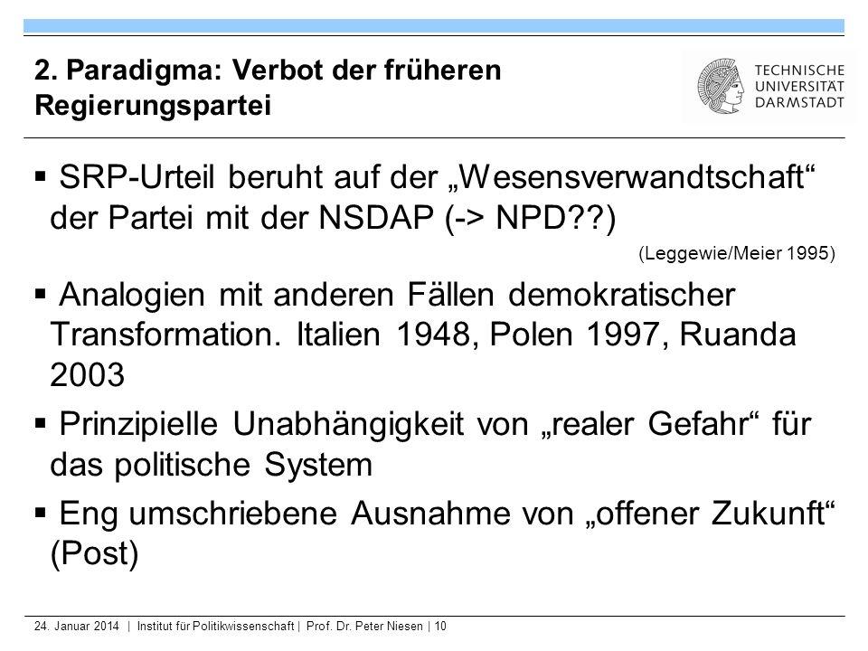 24. Januar 2014   Institut für Politikwissenschaft   Prof. Dr. Peter Niesen   10 2. Paradigma: Verbot der früheren Regierungspartei SRP-Urteil beruht