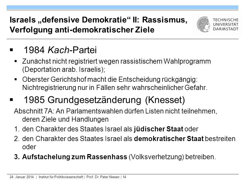 24. Januar 2014   Institut für Politikwissenschaft   Prof. Dr. Peter Niesen   14 Israels defensive Demokratie II: Rassismus, Verfolgung anti-demokrati