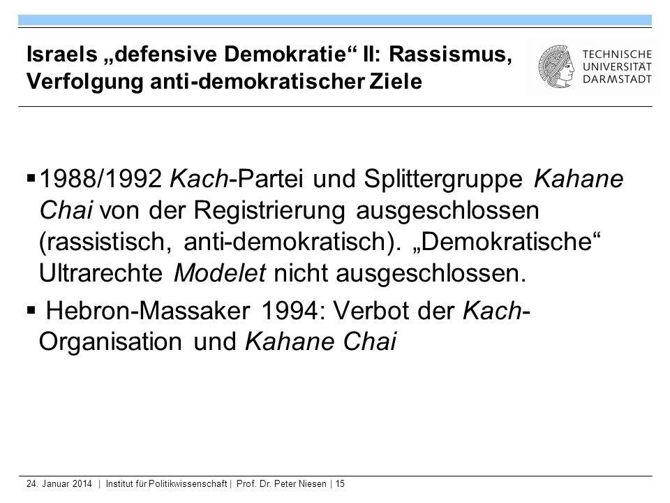 24. Januar 2014   Institut für Politikwissenschaft   Prof. Dr. Peter Niesen   15 Israels defensive Demokratie II: Rassismus, Verfolgung anti-demokrati