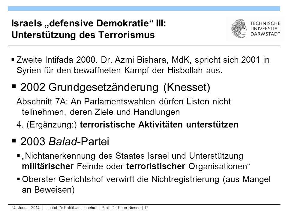 24. Januar 2014   Institut für Politikwissenschaft   Prof. Dr. Peter Niesen   17 Israels defensive Demokratie III: Unterstützung des Terrorismus Zweit