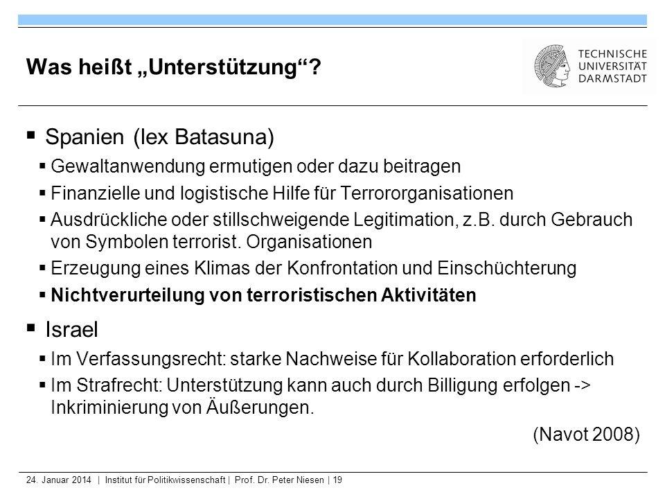 24. Januar 2014   Institut für Politikwissenschaft   Prof. Dr. Peter Niesen   19 Was heißt Unterstützung? Spanien (lex Batasuna) Gewaltanwendung ermut