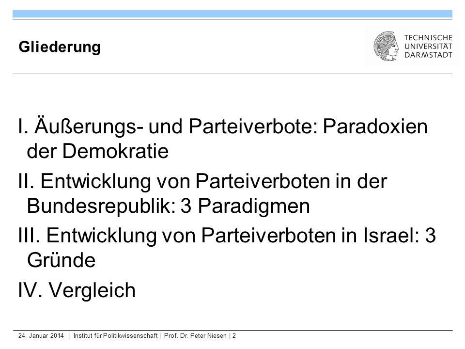 24. Januar 2014   Institut für Politikwissenschaft   Prof. Dr. Peter Niesen   2 Gliederung I. Äußerungs- und Parteiverbote: Paradoxien der Demokratie