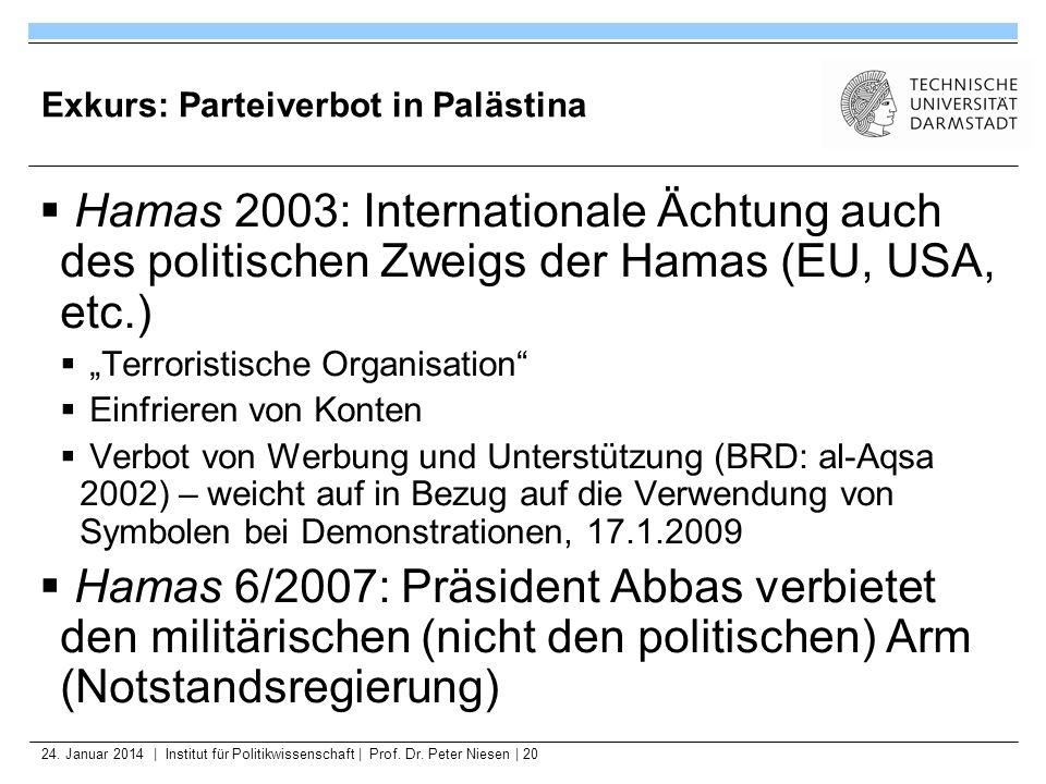 24. Januar 2014   Institut für Politikwissenschaft   Prof. Dr. Peter Niesen   20 Exkurs: Parteiverbot in Palästina Hamas 2003: Internationale Ächtung