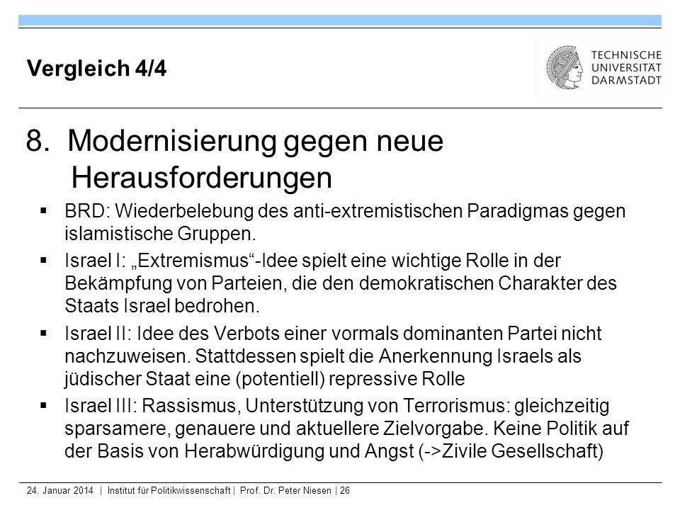 24. Januar 2014   Institut für Politikwissenschaft   Prof. Dr. Peter Niesen   26 Vergleich 4/4 8. Modernisierung gegen neue Herausforderungen BRD: Wie