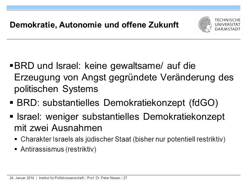 24. Januar 2014   Institut für Politikwissenschaft   Prof. Dr. Peter Niesen   27 Demokratie, Autonomie und offene Zukunft BRD und Israel: keine gewalt