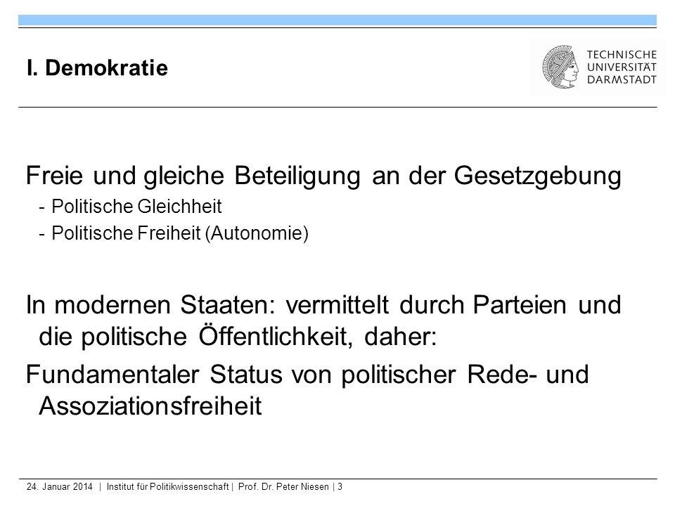 24. Januar 2014   Institut für Politikwissenschaft   Prof. Dr. Peter Niesen   3 I. Demokratie Freie und gleiche Beteiligung an der Gesetzgebung -Polit