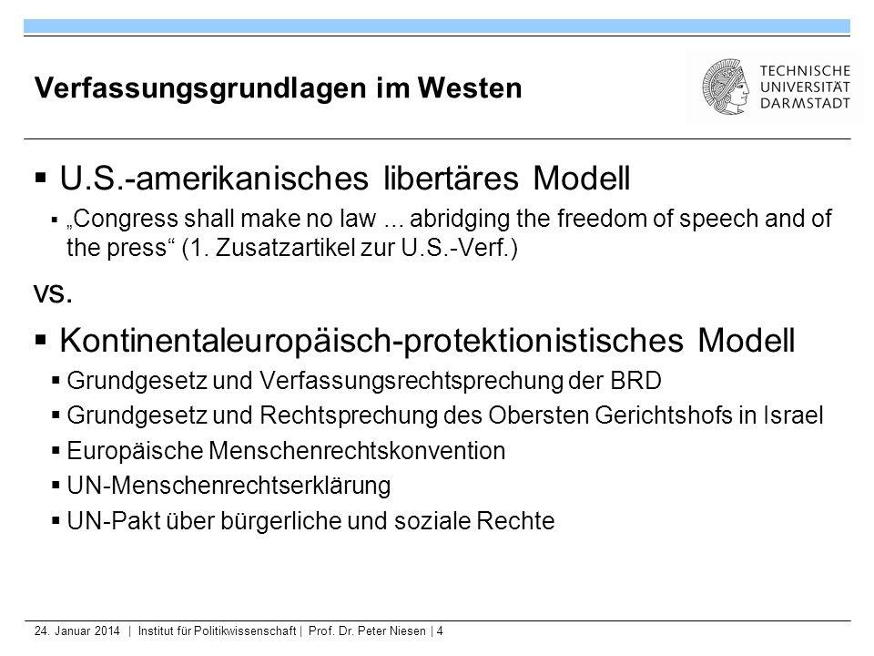 24. Januar 2014   Institut für Politikwissenschaft   Prof. Dr. Peter Niesen   4 Verfassungsgrundlagen im Westen U.S.-amerikanisches libertäres Modell