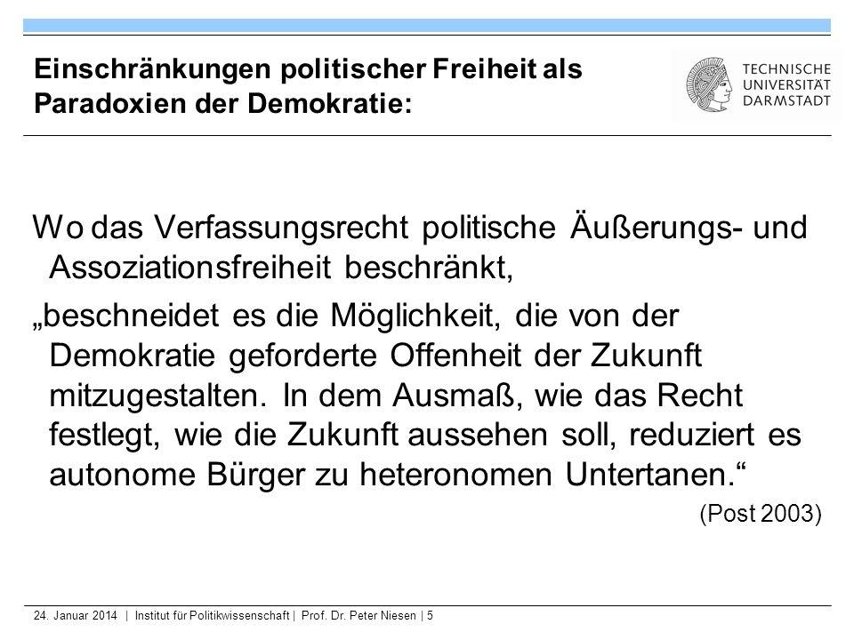 24. Januar 2014   Institut für Politikwissenschaft   Prof. Dr. Peter Niesen   5 Einschränkungen politischer Freiheit als Paradoxien der Demokratie: Wo