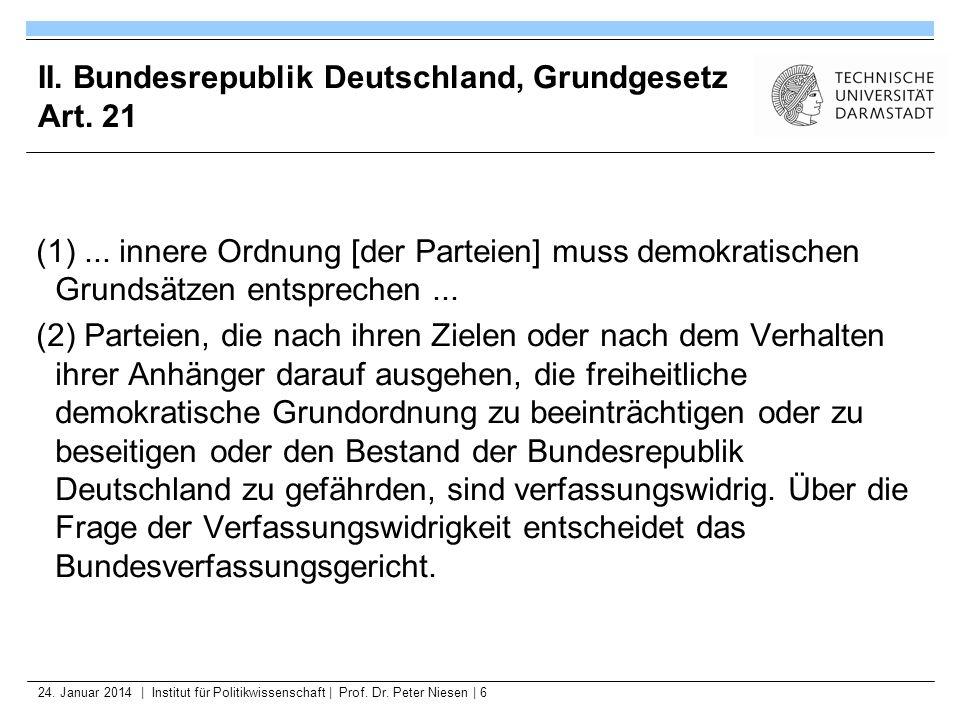 24. Januar 2014   Institut für Politikwissenschaft   Prof. Dr. Peter Niesen   6 II. Bundesrepublik Deutschland, Grundgesetz Art. 21 (1)... innere Ordn