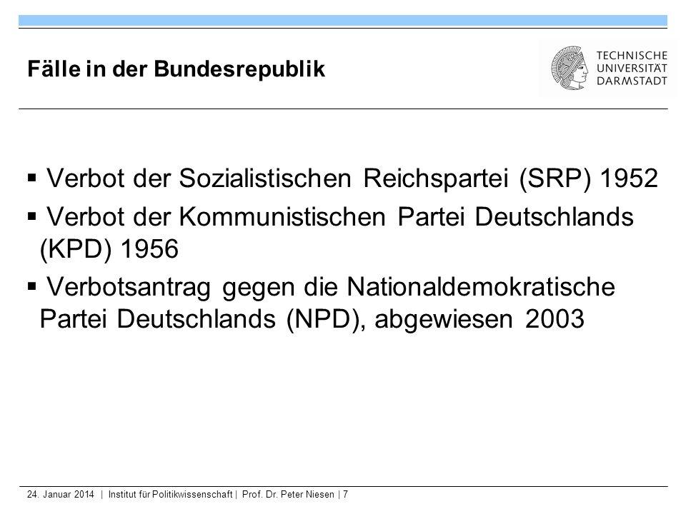 24. Januar 2014   Institut für Politikwissenschaft   Prof. Dr. Peter Niesen   7 Fälle in der Bundesrepublik Verbot der Sozialistischen Reichspartei (S