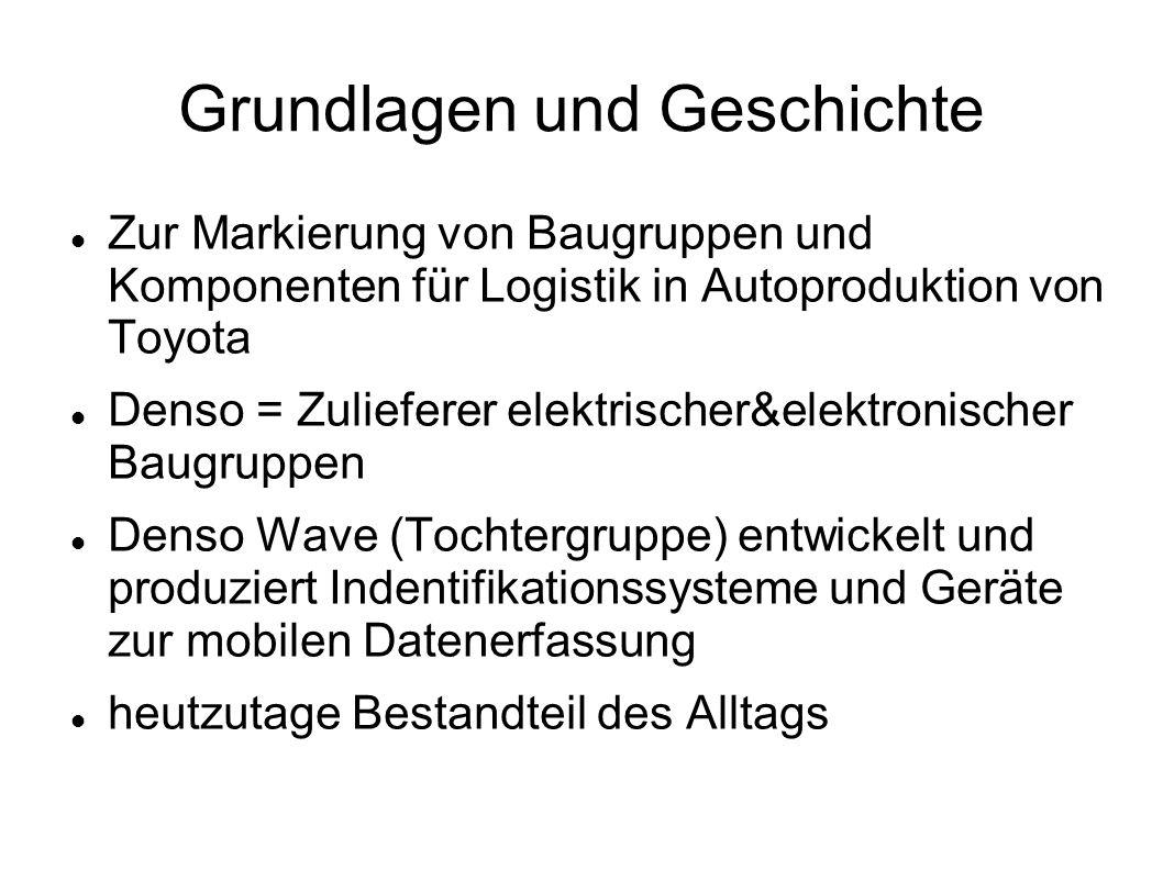 Grundlagen und Geschichte Zur Markierung von Baugruppen und Komponenten für Logistik in Autoproduktion von Toyota Denso = Zulieferer elektrischer&elek