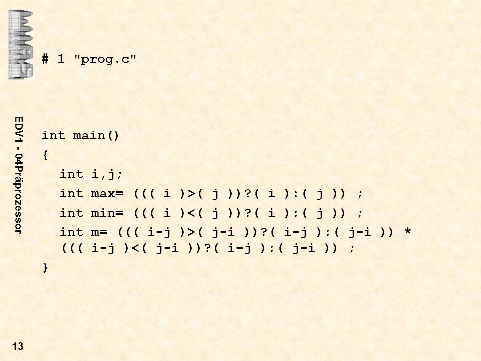 EDV1 - 04Präprozessor 13 # 1