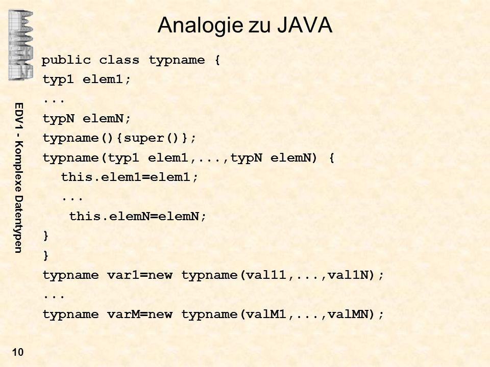 EDV1 - Komplexe Datentypen 11 Pointer und Strukturen Wir definieren einen pointer auf eine Struktur: struct typname *zeiger; Zugriff auf die i-te Komponente der Struktur: (*zeiger).elemi Äquivalent kann geschrieben werden: zeiger->elemi Strukturen eignen sich sehr gut zur Programmierung von Listen.