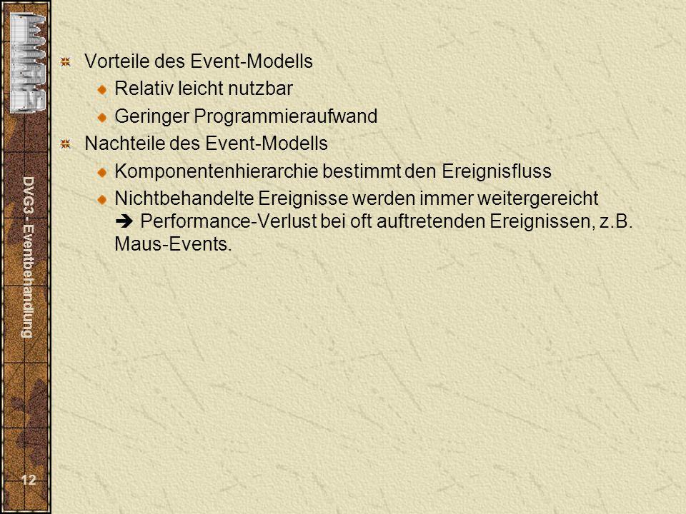 DVG3 - Eventbehandlung 12 Vorteile des Event-Modells Relativ leicht nutzbar Geringer Programmieraufwand Nachteile des Event-Modells Komponentenhierarc