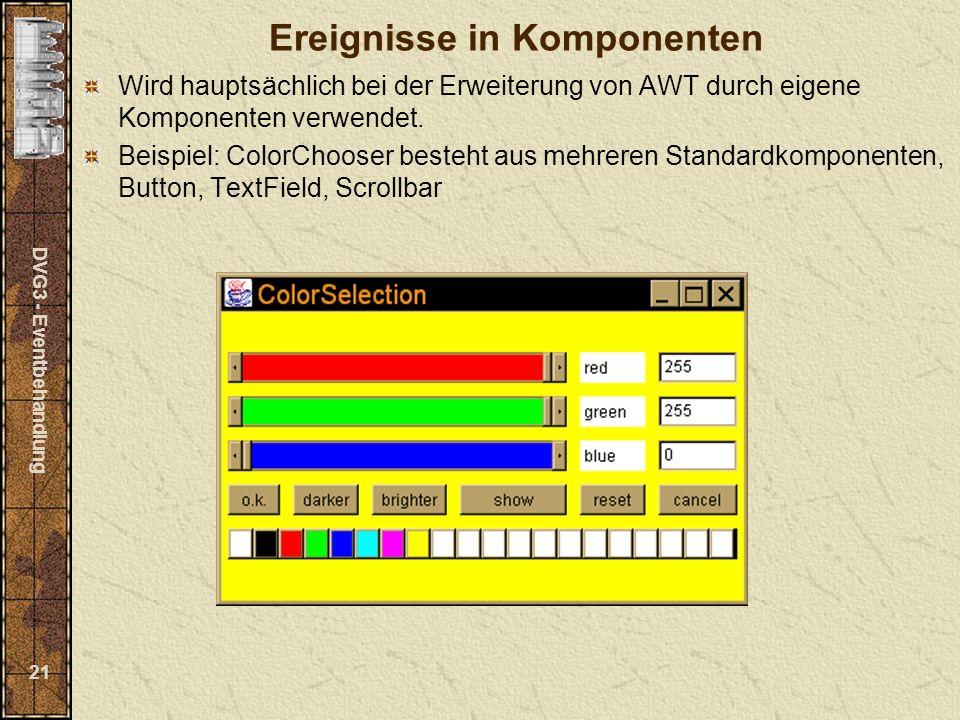 DVG3 - Eventbehandlung 21 Ereignisse in Komponenten Wird hauptsächlich bei der Erweiterung von AWT durch eigene Komponenten verwendet.