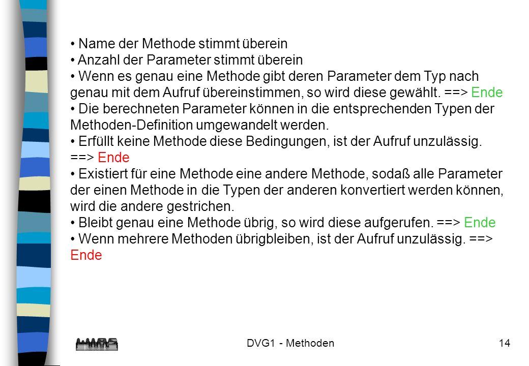 DVG1 - Methoden14 Name der Methode stimmt überein Anzahl der Parameter stimmt überein Wenn es genau eine Methode gibt deren Parameter dem Typ nach gen