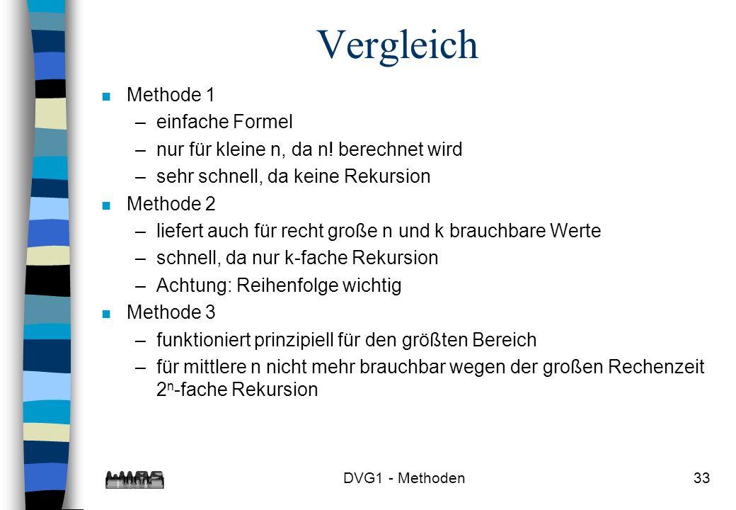 DVG1 - Methoden33 Vergleich n Methode 1 –einfache Formel –nur für kleine n, da n! berechnet wird –sehr schnell, da keine Rekursion n Methode 2 –liefer