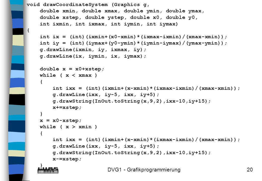 DVG1 - Grafikprogrammierung20 void drawCoordinateSystem (Graphics g, double xmin, double xmax, double ymin, double ymax, double xstep, double ystep, double x0, double y0, int ixmin, int ixmax, int iymin, int iymax) { int ix = (int)(ixmin+(x0-xmin)*(ixmax-ixmin)/(xmax-xmin)); int iy = (int)(iymax+(y0-ymin)*(iymin-iymax)/(ymax-ymin)); g.drawLine(ixmin, iy, ixmax, iy); g.drawLine(ix, iymin, ix, iymax); double x = x0+xstep; while ( x < xmax ) { int ixx = (int)(ixmin+(x-xmin)*(ixmax-ixmin)/(xmax-xmin)); g.drawLine(ixx, iy-5, ixx, iy+5); g.drawString(InOut.toString(x,9,2),ixx-10,iy+15); x+=xstep; } x = x0-xstep; while ( x > xmin ) { int ixx = (int)(ixmin+(x-xmin)*(ixmax-ixmin)/(xmax-xmin)); g.drawLine(ixx, iy-5, ixx, iy+5); g.drawString(InOut.toString(x,9,2),ixx-10,iy+15); x-=xstep; }