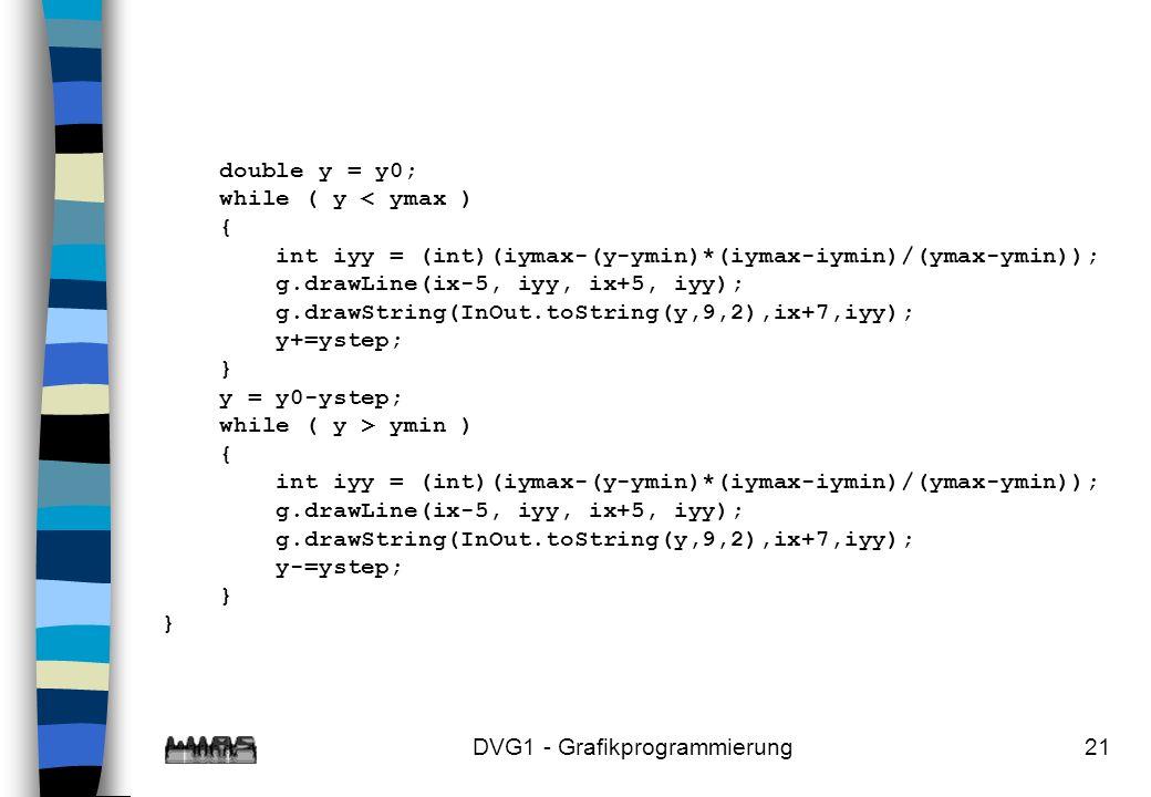 DVG1 - Grafikprogrammierung21 double y = y0; while ( y < ymax ) { int iyy = (int)(iymax-(y-ymin)*(iymax-iymin)/(ymax-ymin)); g.drawLine(ix-5, iyy, ix+5, iyy); g.drawString(InOut.toString(y,9,2),ix+7,iyy); y+=ystep; } y = y0-ystep; while ( y > ymin ) { int iyy = (int)(iymax-(y-ymin)*(iymax-iymin)/(ymax-ymin)); g.drawLine(ix-5, iyy, ix+5, iyy); g.drawString(InOut.toString(y,9,2),ix+7,iyy); y-=ystep; } }