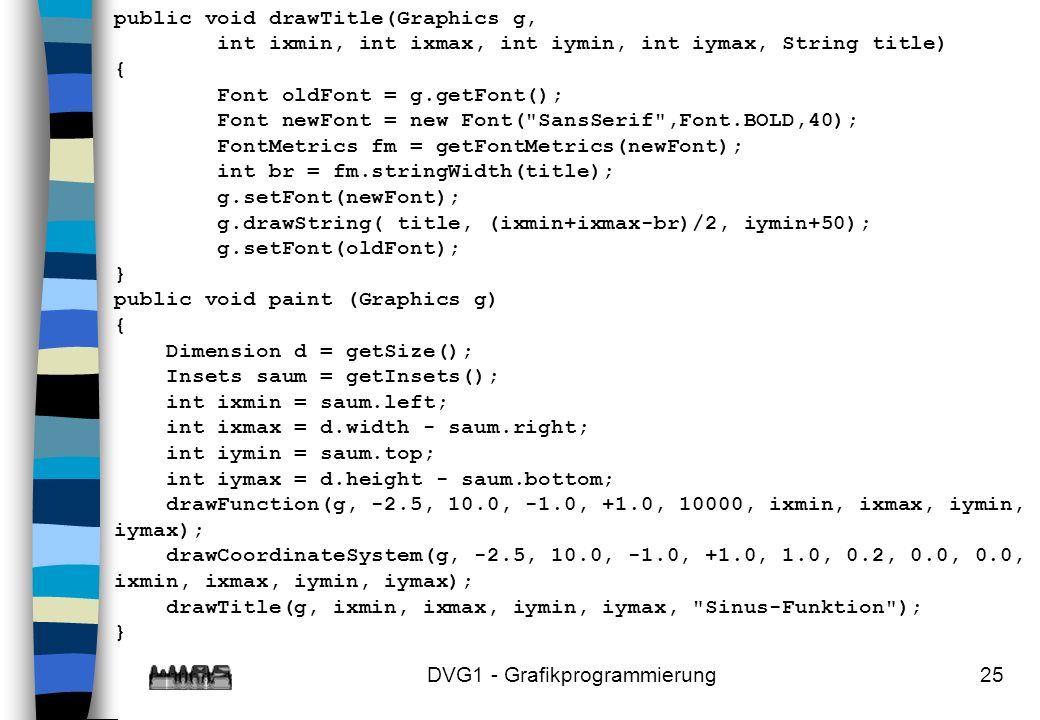 DVG1 - Grafikprogrammierung25 public void drawTitle(Graphics g, int ixmin, int ixmax, int iymin, int iymax, String title) { Font oldFont = g.getFont(); Font newFont = new Font( SansSerif ,Font.BOLD,40); FontMetrics fm = getFontMetrics(newFont); int br = fm.stringWidth(title); g.setFont(newFont); g.drawString( title, (ixmin+ixmax-br)/2, iymin+50); g.setFont(oldFont); } public void paint (Graphics g) { Dimension d = getSize(); Insets saum = getInsets(); int ixmin = saum.left; int ixmax = d.width - saum.right; int iymin = saum.top; int iymax = d.height - saum.bottom; drawFunction(g, -2.5, 10.0, -1.0, +1.0, 10000, ixmin, ixmax, iymin, iymax); drawCoordinateSystem(g, -2.5, 10.0, -1.0, +1.0, 1.0, 0.2, 0.0, 0.0, ixmin, ixmax, iymin, iymax); drawTitle(g, ixmin, ixmax, iymin, iymax, Sinus-Funktion ); }