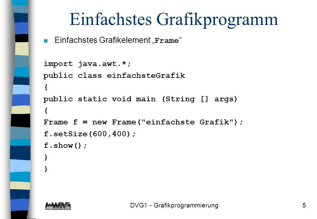 DVG1 - Grafikprogrammierung5 Einfachstes Grafikprogramm Einfachstes Grafikelement Frame import java.awt.*; public class einfachsteGrafik { public static void main (String [] args) { Frame f = new Frame( einfachste Grafik ); f.setSize(600,400); f.show(); } }