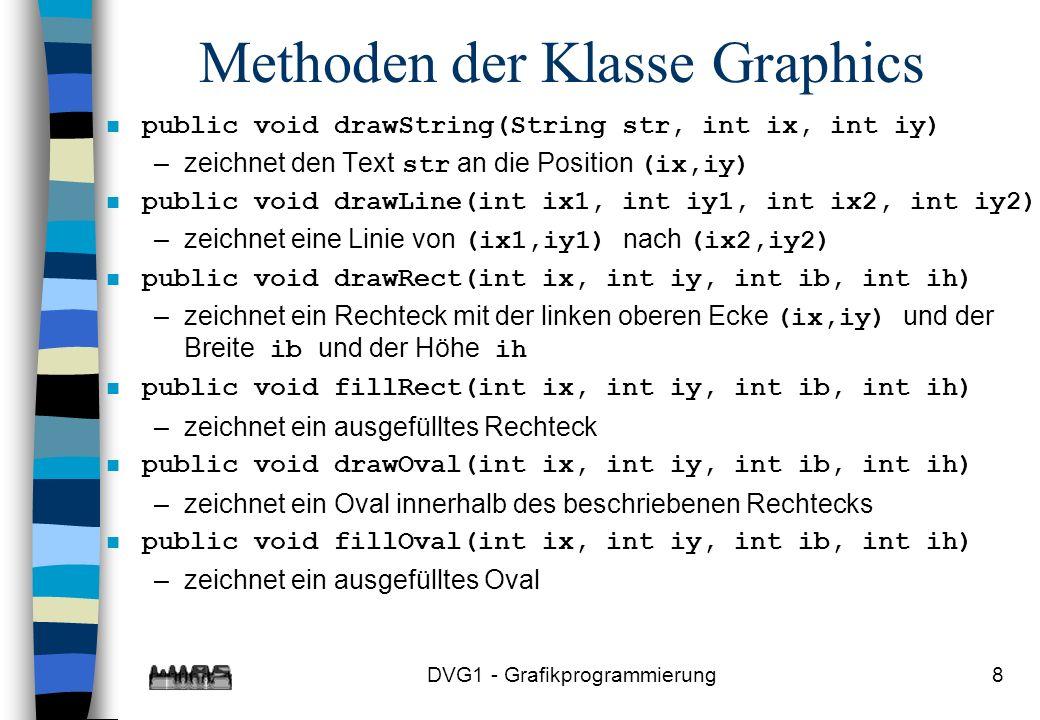 DVG1 - Grafikprogrammierung8 Methoden der Klasse Graphics n public void drawString(String str, int ix, int iy) –zeichnet den Text str an die Position (ix,iy) n public void drawLine(int ix1, int iy1, int ix2, int iy2) –zeichnet eine Linie von (ix1,iy1) nach (ix2,iy2) n public void drawRect(int ix, int iy, int ib, int ih) –zeichnet ein Rechteck mit der linken oberen Ecke (ix,iy) und der Breite ib und der Höhe ih n public void fillRect(int ix, int iy, int ib, int ih) –zeichnet ein ausgefülltes Rechteck n public void drawOval(int ix, int iy, int ib, int ih) –zeichnet ein Oval innerhalb des beschriebenen Rechtecks n public void fillOval(int ix, int iy, int ib, int ih) –zeichnet ein ausgefülltes Oval