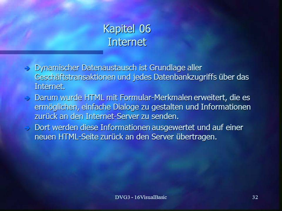 DVG3 - 16VisualBasic32 Kapitel 06 Internet è Dynamischer Datenaustausch ist Grundlage aller Geschäftstransaktionen und jedes Datenbankzugriffs über das Internet.