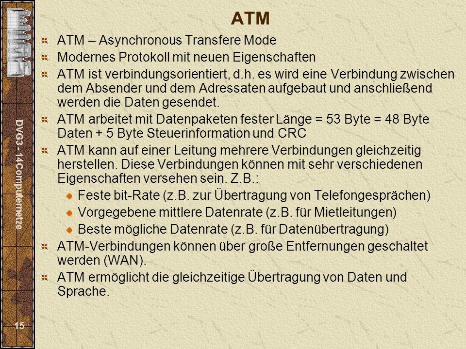 DVG3 - 14Computernetze 15 ATM ATM – Asynchronous Transfere Mode Modernes Protokoll mit neuen Eigenschaften ATM ist verbindungsorientiert, d.h. es wird