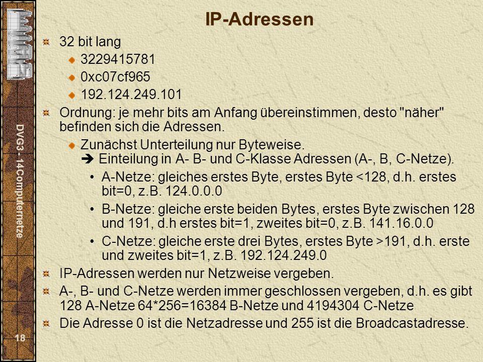 DVG3 - 14Computernetze 18 IP-Adressen 32 bit lang 3229415781 0xc07cf965 192.124.249.101 Ordnung: je mehr bits am Anfang übereinstimmen, desto