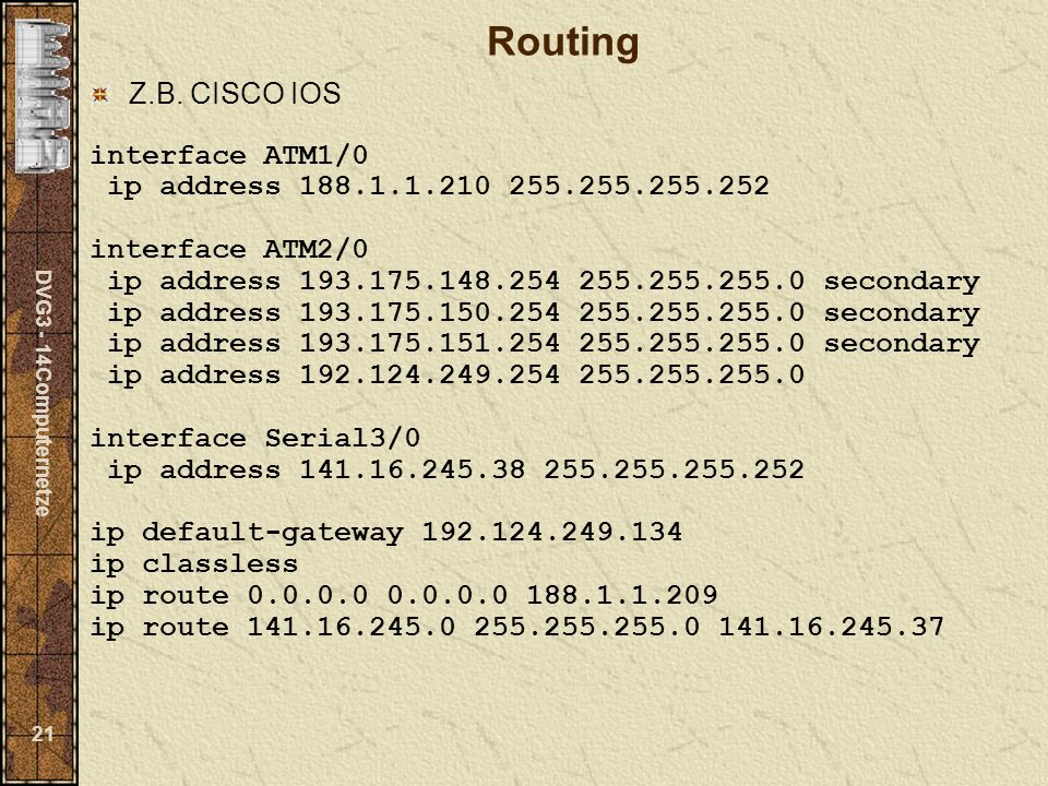 DVG3 - 14Computernetze 21 Routing Z.B.