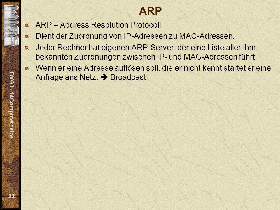 DVG3 - 14Computernetze 22 ARP ARP – Address Resolution Protocoll Dient der Zuordnung von IP-Adressen zu MAC-Adressen. Jeder Rechner hat eigenen ARP-Se