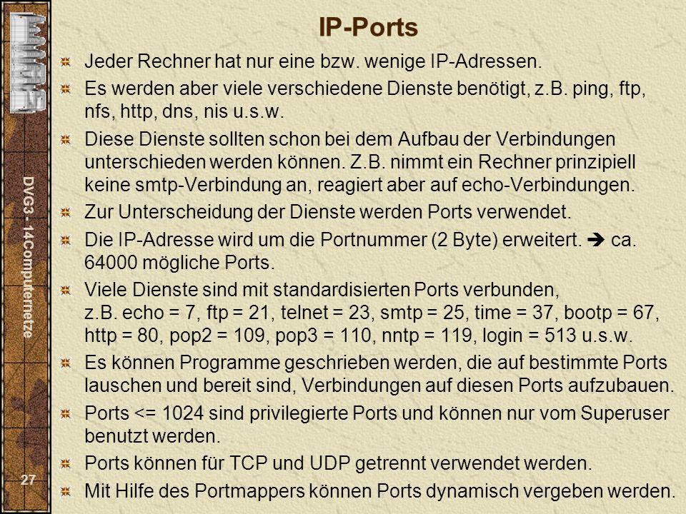 DVG3 - 14Computernetze 27 IP-Ports Jeder Rechner hat nur eine bzw. wenige IP-Adressen. Es werden aber viele verschiedene Dienste benötigt, z.B. ping,