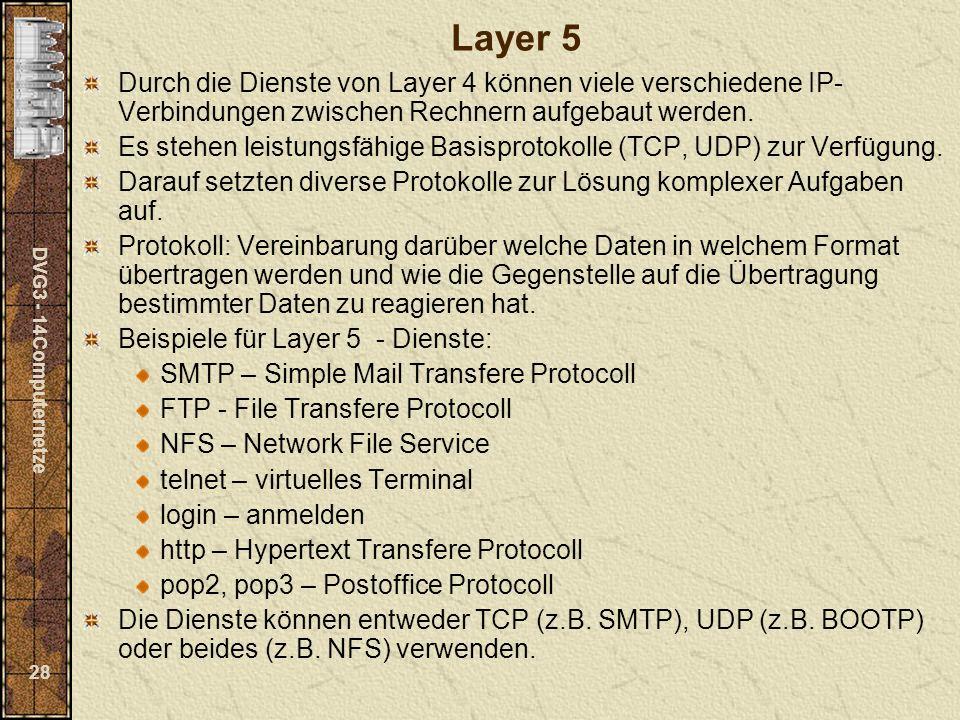 DVG3 - 14Computernetze 28 Layer 5 Durch die Dienste von Layer 4 können viele verschiedene IP- Verbindungen zwischen Rechnern aufgebaut werden. Es steh