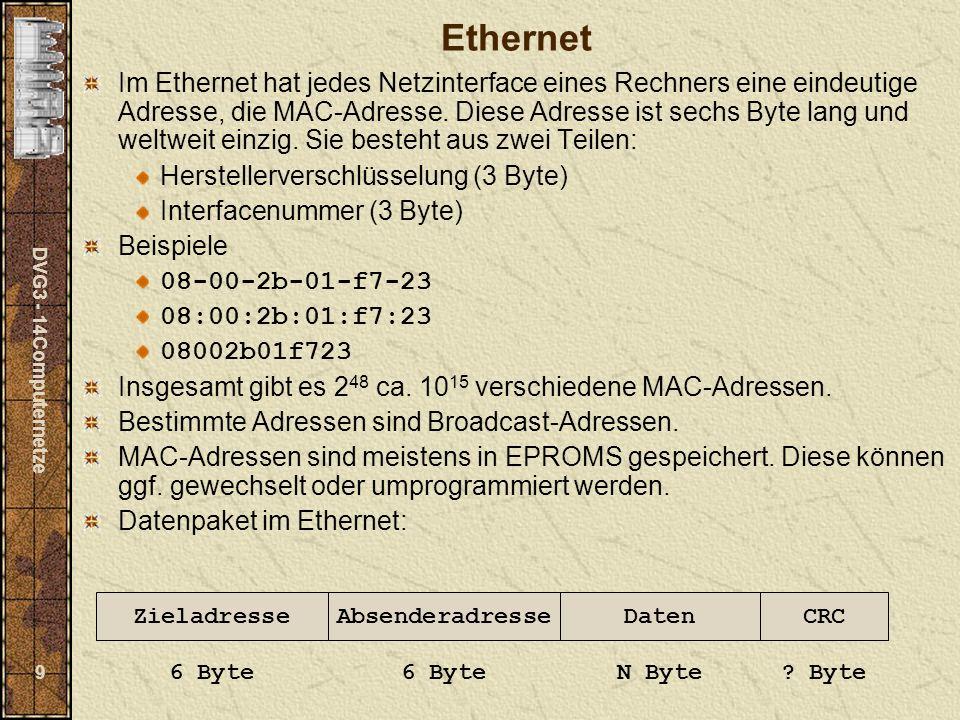 DVG3 - 14Computernetze 9 Ethernet Im Ethernet hat jedes Netzinterface eines Rechners eine eindeutige Adresse, die MAC-Adresse. Diese Adresse ist sechs