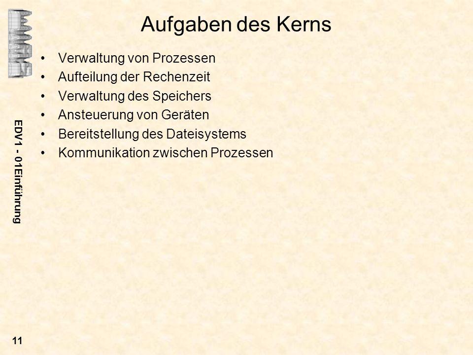 EDV1 - 01Einführung 11 Aufgaben des Kerns Verwaltung von Prozessen Aufteilung der Rechenzeit Verwaltung des Speichers Ansteuerung von Geräten Bereitst