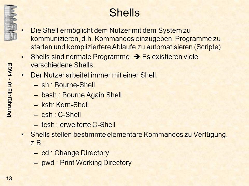 EDV1 - 01Einführung 13 Shells Die Shell ermöglicht dem Nutzer mit dem System zu kommunizieren, d.h. Kommandos einzugeben, Programme zu starten und kom