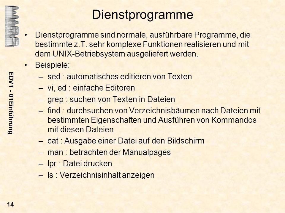 EDV1 - 01Einführung 14 Dienstprogramme Dienstprogramme sind normale, ausführbare Programme, die bestimmte z.T. sehr komplexe Funktionen realisieren un