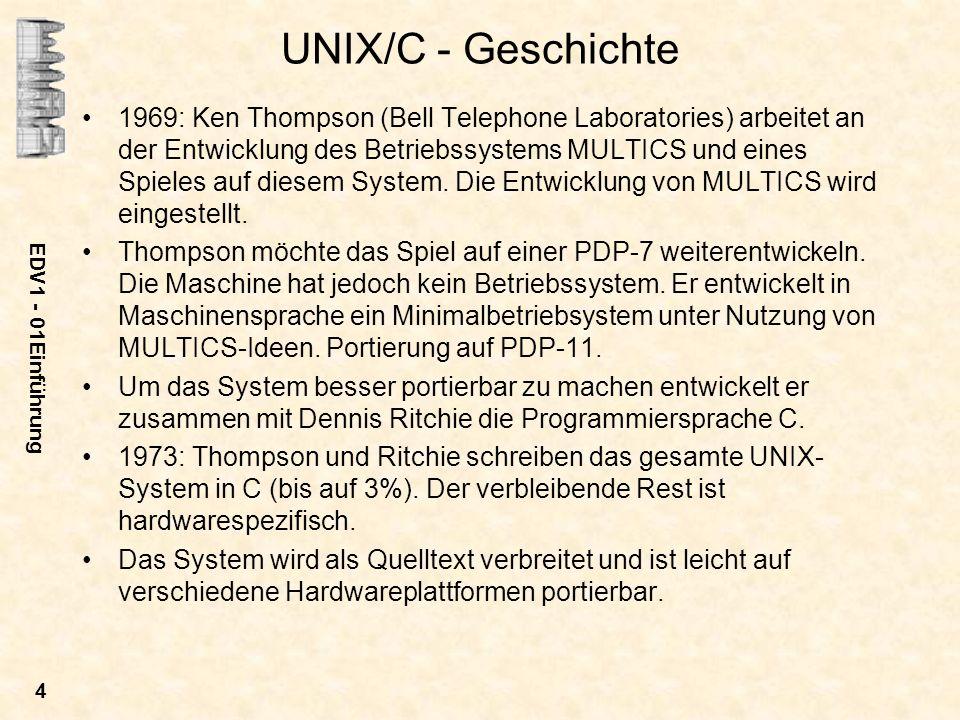 EDV1 - 01Einführung 5 Um 1980: Es bilden sich zwei wesentlich neue Linien heraus: –BSD : University of California in Berkley Version 4.3 1987 –System V : AT&T Release 4 1990 Auf der Basis von BSD und SVR4 werden von mehreren Computer-Herstellern eigene Derivate entwickelt: –DEC: ULTRIX, OSF1 –HP: HPUX –IBM: AIX –SUN: SunOS, Solaris –SGI: IRIX Verschiedene Bemühungen um Standardisierung scheitern.