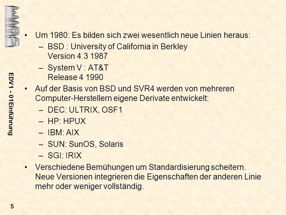 EDV1 - 01Einführung 5 Um 1980: Es bilden sich zwei wesentlich neue Linien heraus: –BSD : University of California in Berkley Version 4.3 1987 –System