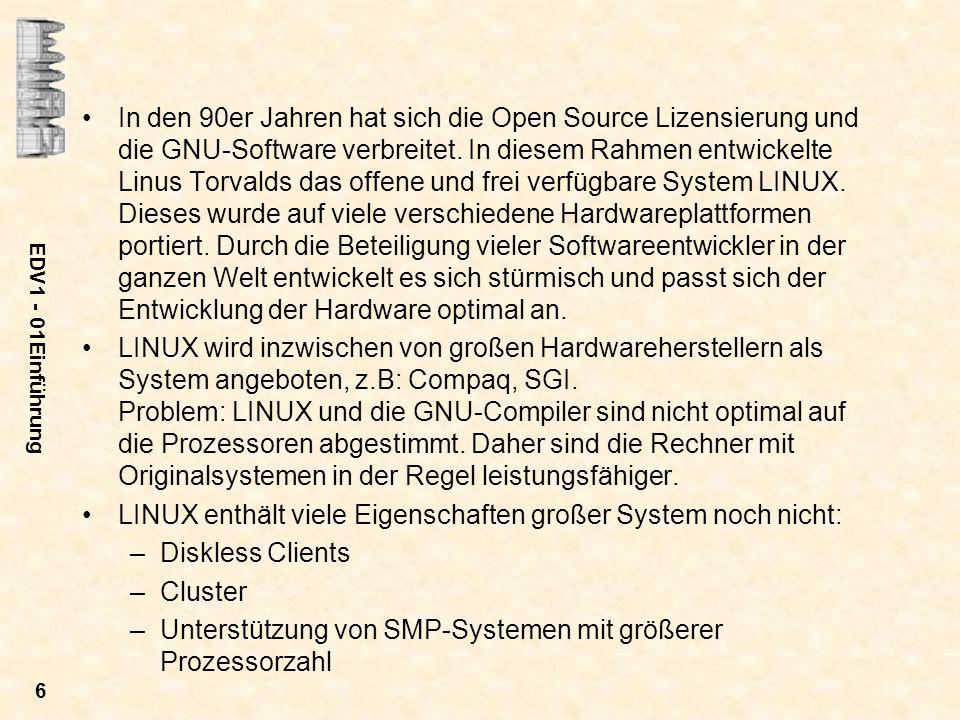 EDV1 - 01Einführung 6 In den 90er Jahren hat sich die Open Source Lizensierung und die GNU-Software verbreitet. In diesem Rahmen entwickelte Linus Tor