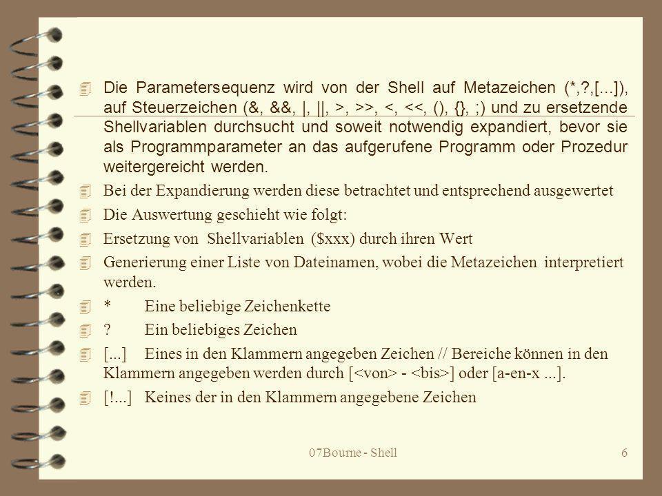 07Bourne - Shell27 4 Die Konstruktion B: 4 for name in wort...